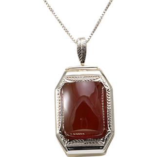 14K White Gold and Carnelian Pendant