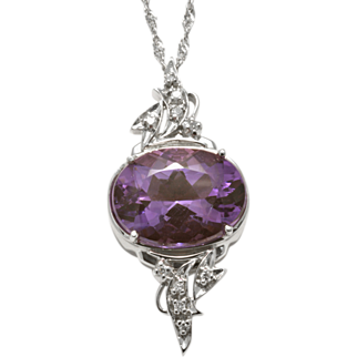 Artisan Crafted 14k White Gold Diamond and Amethyst Pendant