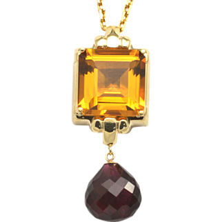 SALE Artisan Crafted 14k Yellow Gold, Citrine and Garnet Pendant