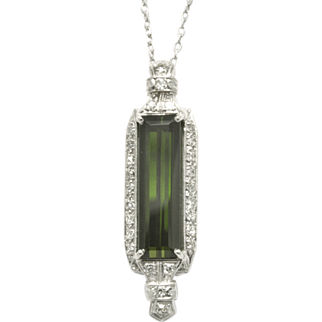 Artisan Crafted 14k White Gold Diamond and Green Tourmaline Pendant