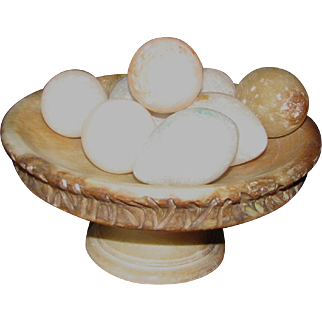 """9 ¼""""D Italian Alabaster Compote with Polished Stone Eggs"""