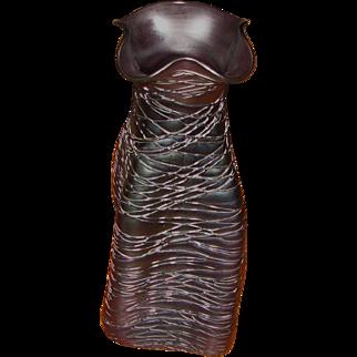 "9 ¼"" Kralik Amethyst Threaded Vase"