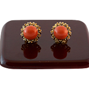 Stunning 14K Yellow Gold Natural Coral Earrings
