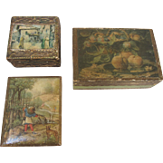 Trio of Vintage Florentine Decoupage Boxes