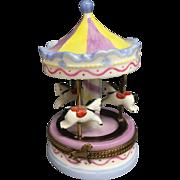 Wonderful Large Vintage Pastel Nursery Limoges Trinket Box Merry-Go-Round
