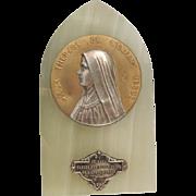 Vintage French Saint Therese of Lisieux Onyx Religious Plaque Souvenir