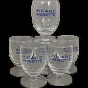 Vintage Set of 6 French Ricard Pastis Anisette Glasses / Ricard Goblets / Bistro Cafe / French