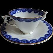 Antique ROYAL WORCESTER Flow Blue Bouillon Cream Soup Bowl & Saucer / Bouillon Cup and Saucer