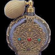 Vintage Czech Rhinestone Perfume Bottle with Spritzer Pump / Perfume Atomizer