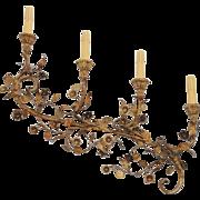 "Vintage Pair Large Gold Gilt Italian Florentine Wall Sconces / 32"" Gold Gilt 4 Light Scon"