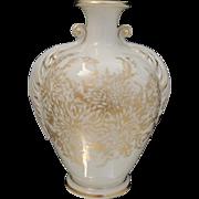 Vintage American St Regis Vase Cream and Gold Floral Porcelain