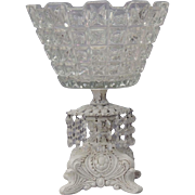 Vintage Glass Bowl With Prisms / Glass Bowl and Pedestal / Glass Compote With Dangling Crystal