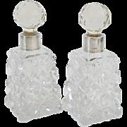 Pair Sterling Silver & Cut Crystal Perfume Bottles, 19th-C