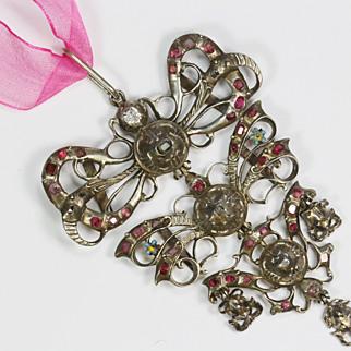 REDUCED Antique Silver Diamond Ruby Pendant 18th Century