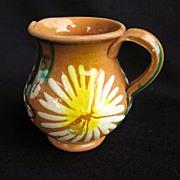 Vintage Oaxaca Mexico Dripware Pottery Creamer in Daisy Pattern