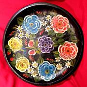 "Vintage Mexican Folk Art Batea Floral Tole Wood Tray Platter 15"""