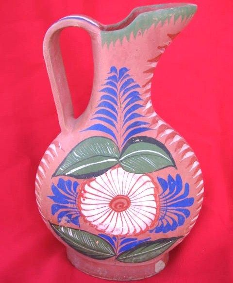 Tonala Mexico Opaque Burnished Pottery Pitcher Circa 1940