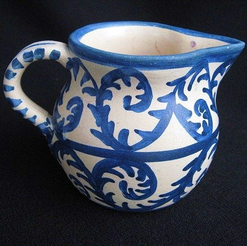 Blue and White Dorchester Pottery Creamer Signed C.A.H.