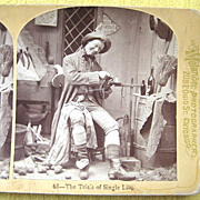 """1876 """"Trials of Single Life"""" Humorous Stereoscopic Card by Melander"""