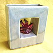 1950s McCoy Arcature Bird Double Vase / Planter Gray & Burgundy