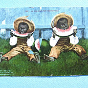 1907 Black Americana Postcard Watermelon Eaters Edward H. Mitchell