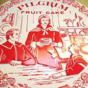 Vintage Decorative Pilgrim Fruit Cake Tin Canister Made in U.S.A.