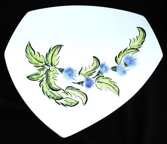 Large 1950s Mid-Century Modern Art Pottery Platter Hand Painted