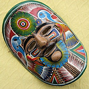 Vintage Terra Cotta Folk Art Pottery Mask from Mexico