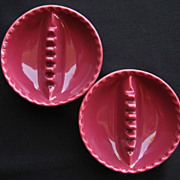 Two Burgundy Pottery Anholt Ashtrays 1940s Coors Pottery Co,