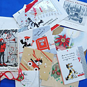 Lot of 12 1935 Christmas Cards with Envelopes & Stamps