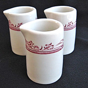"3 Vintage Mayer China Wellington ""True Ivory"" Individual Creamers or Syrups"