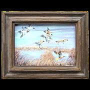 Original Burkland Oil Painting of Ducks in Flight