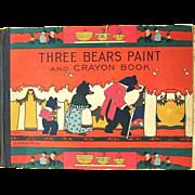 Rare 1932 Three Bears Paint and Crayon Book McLoughlin Bros.