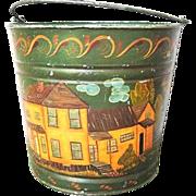 Galvanized Metal Folk Art Painted Bucket 1970s