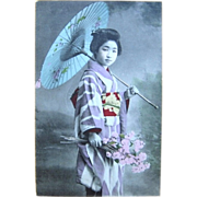 Hand-Painted Real Photo Japanese Geisha Postcard 1907
