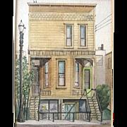Oregon Artist Edward Sewall Watercolor Portland Street Scene