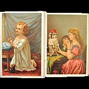2 Great Atlantic & Pacific Tea Victorian Trade Cards 1882