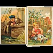 2 1880s Children Great Atlantic & Pacific Tea Victorian Trade Cards