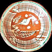 Vintage Mexican Bandera Redware Pottery Bowl w. Heron