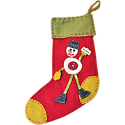 Vintage Hand-stitched Felt Snowman Christmas Stocking