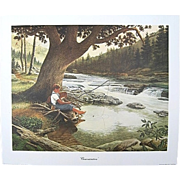 "E. Howard Burger ""Concentration"" Fishing Print Signed Numbered Limited Edition"