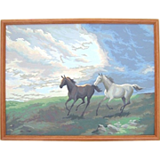 SALE Large Vintage Framed Paint by Number Galloping Horses