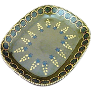 Vintage Large Olive Green Mexican Pottery Dish / Tray / Platter