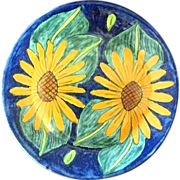 Signed E. Ortiz Mexican Talavera Pottery Charger Plate Sunflowers on Cobalt Blue