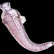 c. 1900 Sun Purple Cornucopia Horn Car Vase Pressed Glass EAPG