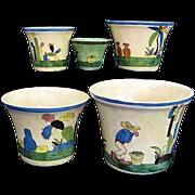 Set 5 Tlaquepaque Mexico Nesting Pottery Flower Pot Planters c. 1930s