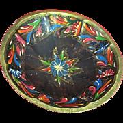 Mexican Folk Art Batea Tole Wood Bowl