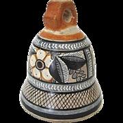 Miniature Tonala Mexico Pottery Bell Signed by Florentino Jimon Barba