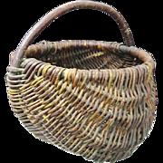 Woven Willow Appalachian Melon Basket circa 1900