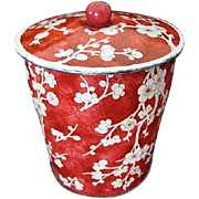 Daher Red White Cherry Blossom Tin Made in England